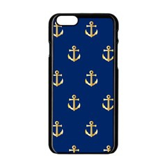 Gold Anchors On Blue Background Pattern Apple iPhone 6/6S Black Enamel Case