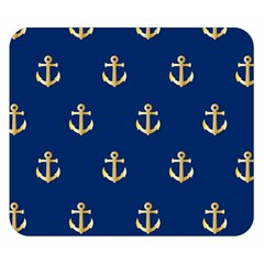 Gold Anchors On Blue Background Pattern Double Sided Flano Blanket (Small)