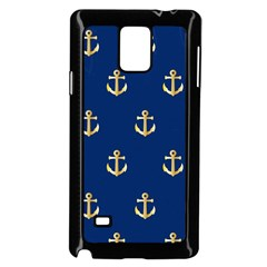 Gold Anchors On Blue Background Pattern Samsung Galaxy Note 4 Case (black)