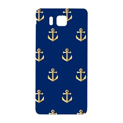 Gold Anchors On Blue Background Pattern Samsung Galaxy Alpha Hardshell Back Case