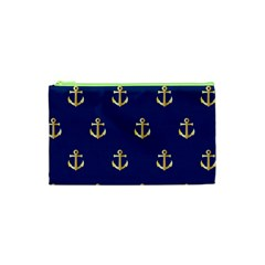 Gold Anchors On Blue Background Pattern Cosmetic Bag (XS)
