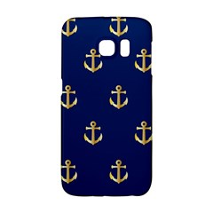 Gold Anchors On Blue Background Pattern Galaxy S6 Edge