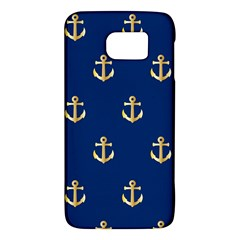 Gold Anchors On Blue Background Pattern Galaxy S6