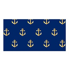 Gold Anchors On Blue Background Pattern Satin Shawl