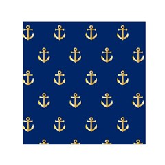 Gold Anchors On Blue Background Pattern Small Satin Scarf (Square)