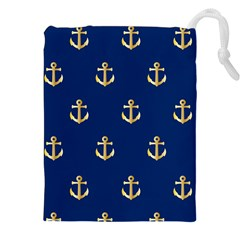 Gold Anchors On Blue Background Pattern Drawstring Pouches (xxl)
