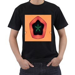 Fractal Flower Men s T-Shirt (Black) (Two Sided)