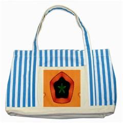 Fractal Flower Striped Blue Tote Bag