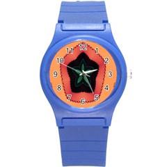 Fractal Flower Round Plastic Sport Watch (S)