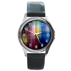 Colorful Abstract Background Round Metal Watch