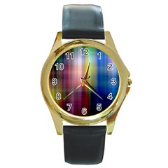Colorful Abstract Background Round Gold Metal Watch
