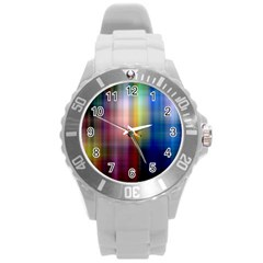Colorful Abstract Background Round Plastic Sport Watch (L)