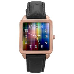 Colorful Abstract Background Rose Gold Leather Watch