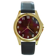 Colorful Venetian Blinds Effect Round Gold Metal Watch