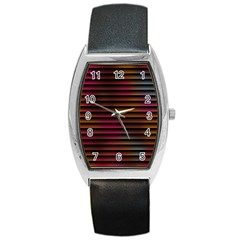Colorful Venetian Blinds Effect Barrel Style Metal Watch