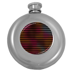 Colorful Venetian Blinds Effect Round Hip Flask (5 Oz)