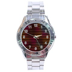 Colorful Venetian Blinds Effect Stainless Steel Analogue Watch