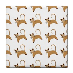 Cute Cats Seamless Wallpaper Background Pattern Tile Coasters