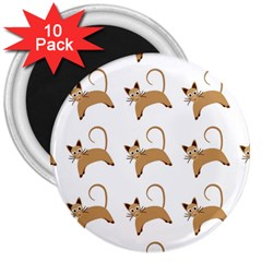 Cute Cats Seamless Wallpaper Background Pattern 3  Magnets (10 pack)