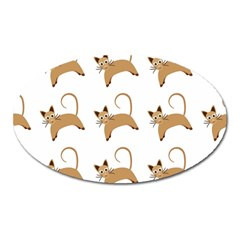 Cute Cats Seamless Wallpaper Background Pattern Oval Magnet