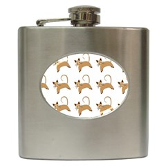 Cute Cats Seamless Wallpaper Background Pattern Hip Flask (6 Oz)