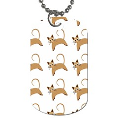 Cute Cats Seamless Wallpaper Background Pattern Dog Tag (Two Sides)