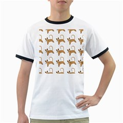 Cute Cats Seamless Wallpaper Background Pattern Ringer T-Shirts