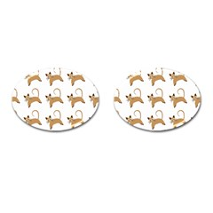 Cute Cats Seamless Wallpaper Background Pattern Cufflinks (Oval)