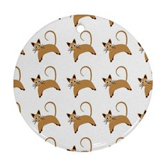 Cute Cats Seamless Wallpaper Background Pattern Round Ornament (Two Sides)