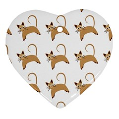 Cute Cats Seamless Wallpaper Background Pattern Heart Ornament (Two Sides)