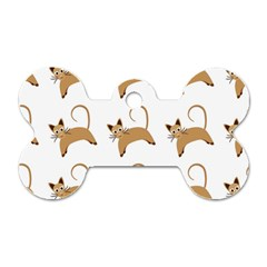 Cute Cats Seamless Wallpaper Background Pattern Dog Tag Bone (one Side)