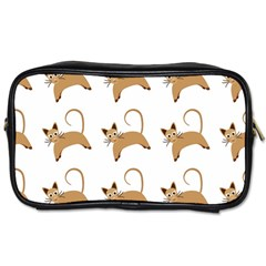 Cute Cats Seamless Wallpaper Background Pattern Toiletries Bags 2 Side