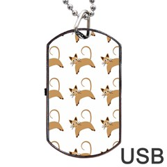 Cute Cats Seamless Wallpaper Background Pattern Dog Tag USB Flash (One Side)