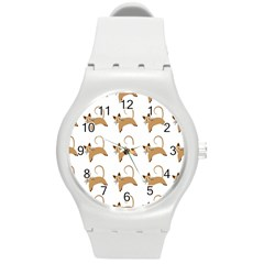 Cute Cats Seamless Wallpaper Background Pattern Round Plastic Sport Watch (M)