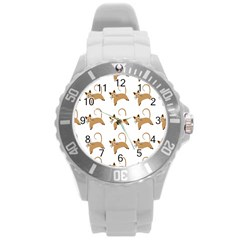 Cute Cats Seamless Wallpaper Background Pattern Round Plastic Sport Watch (L)