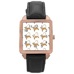 Cute Cats Seamless Wallpaper Background Pattern Rose Gold Leather Watch