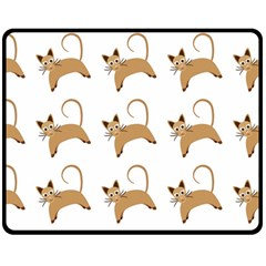 Cute Cats Seamless Wallpaper Background Pattern Double Sided Fleece Blanket (Medium)
