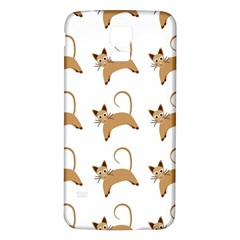 Cute Cats Seamless Wallpaper Background Pattern Samsung Galaxy S5 Back Case (White)