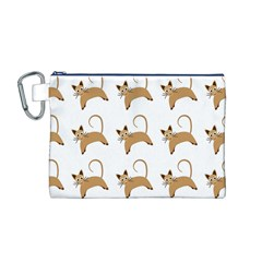 Cute Cats Seamless Wallpaper Background Pattern Canvas Cosmetic Bag (M)