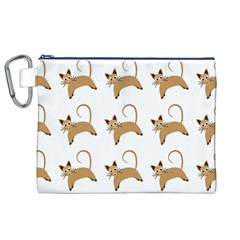 Cute Cats Seamless Wallpaper Background Pattern Canvas Cosmetic Bag (XL)
