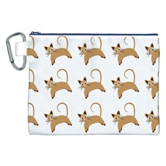 Cute Cats Seamless Wallpaper Background Pattern Canvas Cosmetic Bag (XXL)