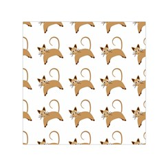 Cute Cats Seamless Wallpaper Background Pattern Small Satin Scarf (Square)