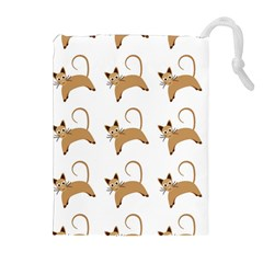 Cute Cats Seamless Wallpaper Background Pattern Drawstring Pouches (Extra Large)