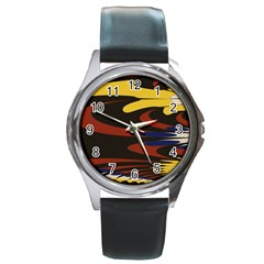 Peacock Abstract Fractal Round Metal Watch