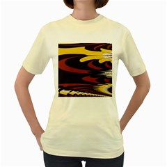 Peacock Abstract Fractal Women s Yellow T Shirt