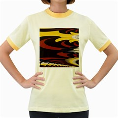 Peacock Abstract Fractal Women s Fitted Ringer T Shirts