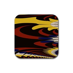 Peacock Abstract Fractal Rubber Coaster (Square)