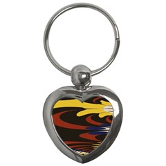 Peacock Abstract Fractal Key Chains (Heart)