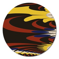 Peacock Abstract Fractal Magnet 5  (round)