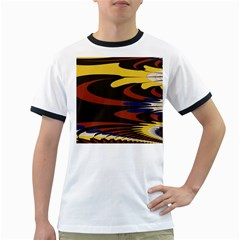 Peacock Abstract Fractal Ringer T-Shirts